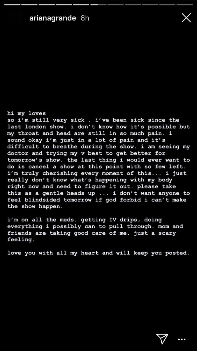 Ariana Grande Posted About Being Sick on Her Instagram Story