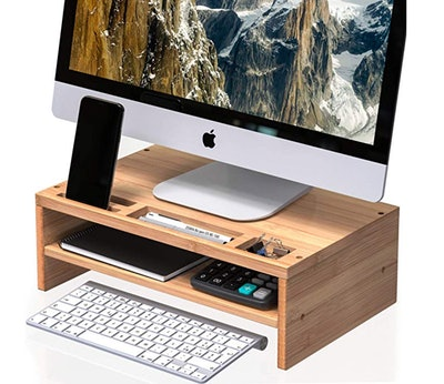 Well Weng Desk Monitor Riser Stand With Storage Organizer
