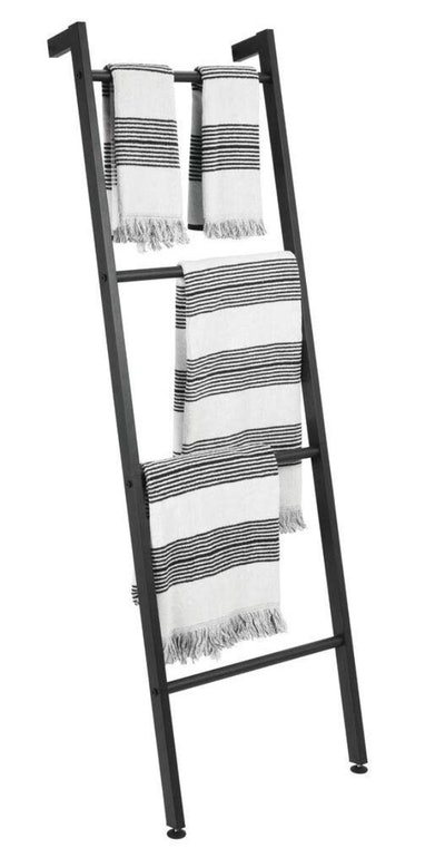mDesign Metal Free Standing Bath Towel Bar Storage Ladder