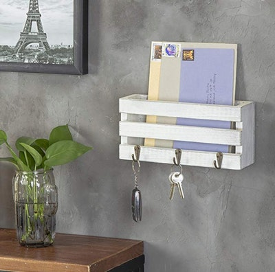 MyGift  Wall-Mounted Mail Sorter With 3 Key Hooks