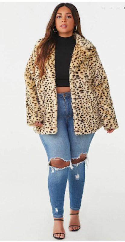 Plus Size Faux Fur Cheetah Print Coat