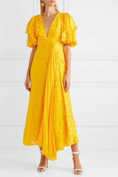 Ruffled Fil Coupé Chiffon Midi Dress