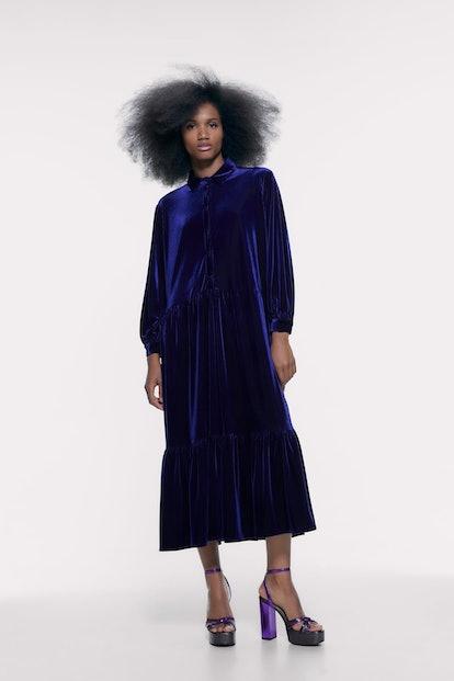 Velvet Shirt Dress