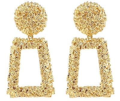 KELMALL Golden Raised Design Statement Earrings