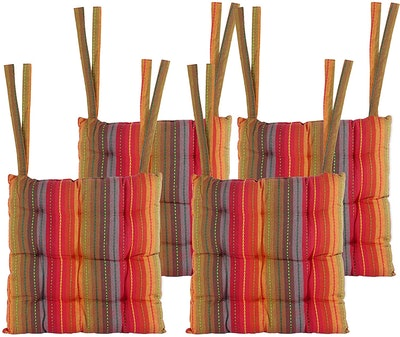COTTON CRAFT Dining Chair Cushion With Ties (Set Of 4)