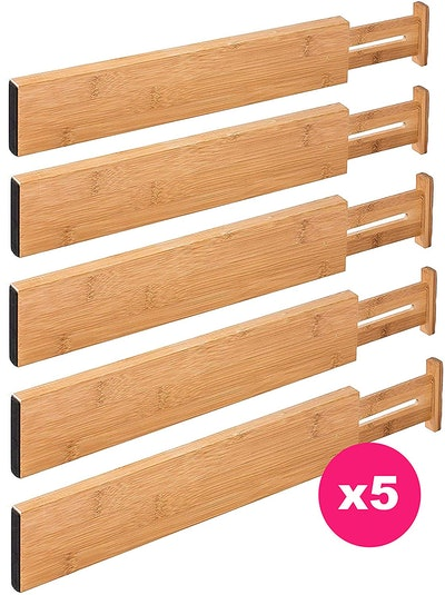 RAPTUROUS Bamboo Drawer Dividers (Set Of 5)