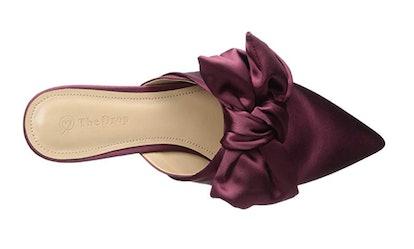 The Drop Women's Essen Bow Pointed Toe Flat Mule Sandal