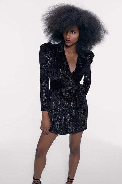 Shiny Blazer Dress