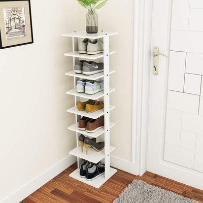 Tangkula Wooden 7-Tier Entryway Shoes Rack