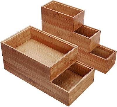 Lipper International 88005 Bamboo Wood Drawer Organizer Boxes (Set of 5)