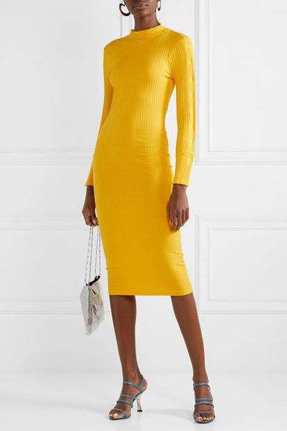 Ribbed Stretch-Cotton Dress