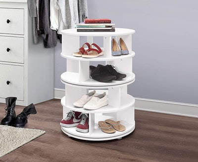 Kings Brand Furniture 4-Tier Revolving Lazy Susan Shoe Storage Organizer