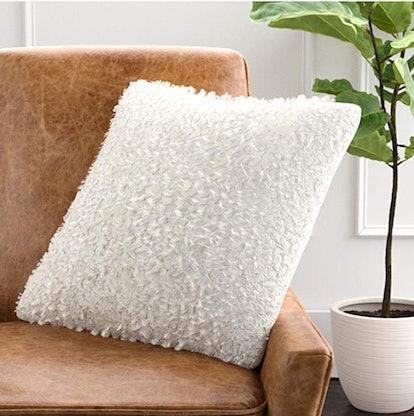 Rivet Modern Faux Fur Decorative Throw Pillow