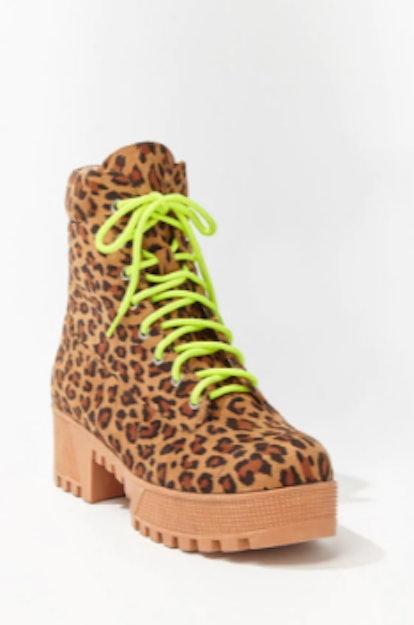 Faux Suede Leopard Print Boots
