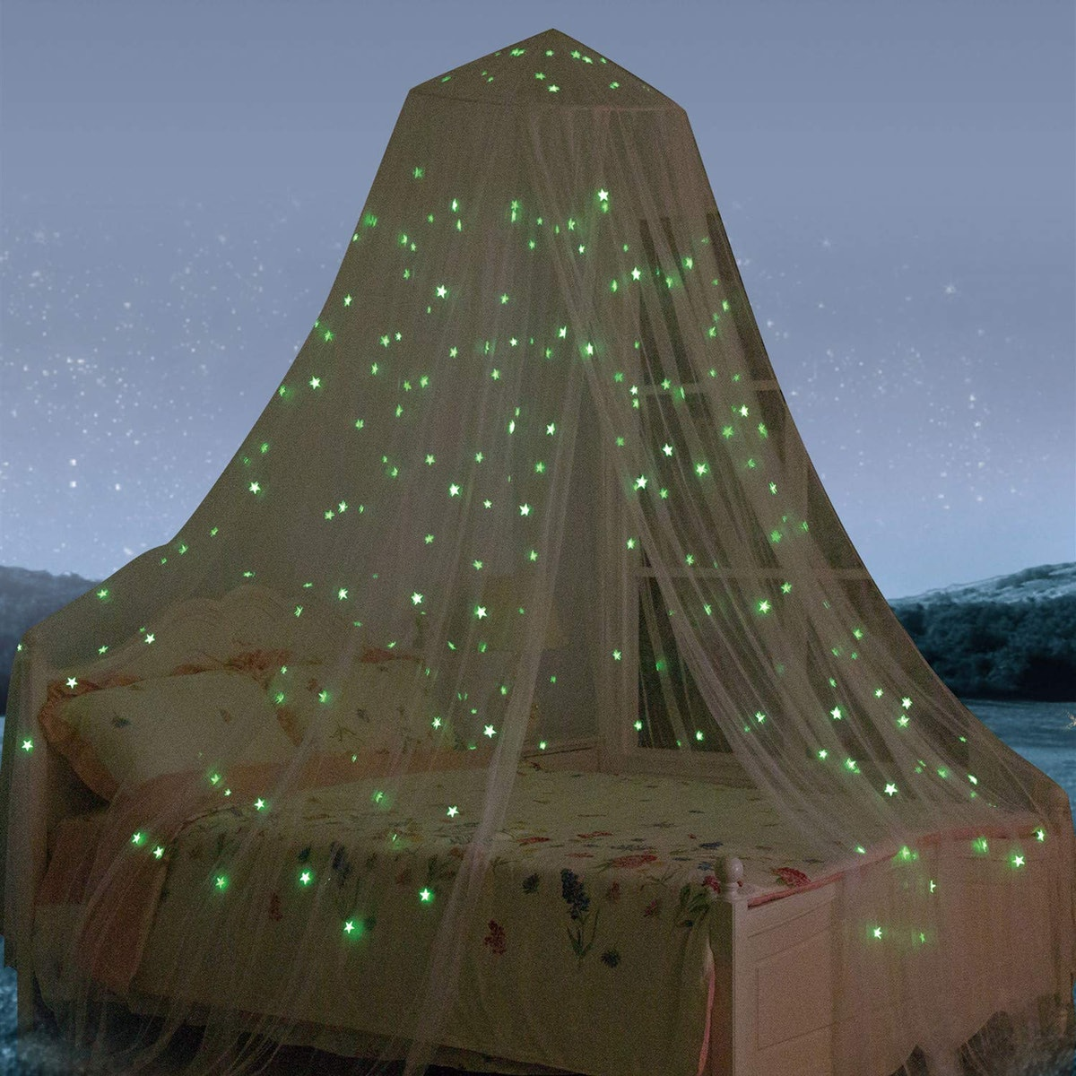 South to East Bed Canopy With Fluorescent Stars