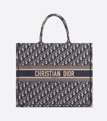 Blue Dior Oblique Book Tote Bag
