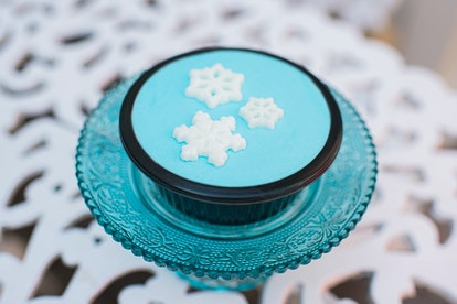 A top view of the blue Snowflake Brownie treat, which is available at Mickey's Very Merry Christmas ...