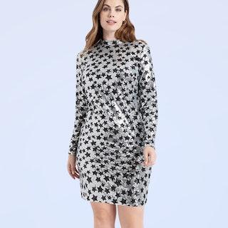 Eloquii Mock Neck Sequin Dress