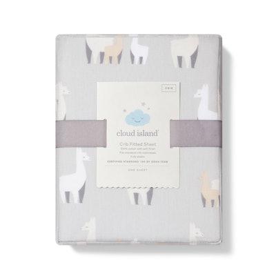 Fitted Crib Sheet Llamas - Cloud Island™ Gray/White