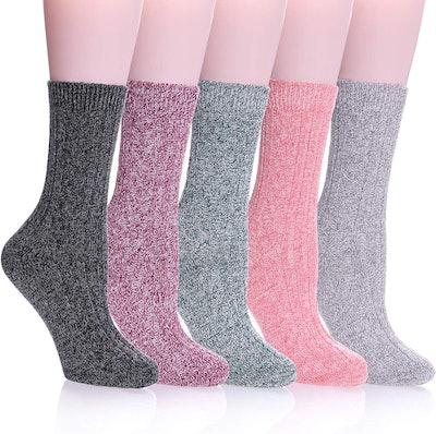 Color City Women's Knit Wool Crew Socks (5-Pack)