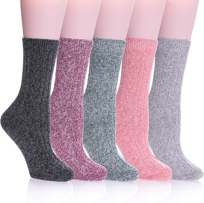 Color City Women's Knit Wool Crew Socks (5-Pack)
