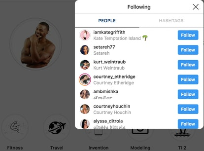 Dom Price from Temptation Island follows Kate Griffith on Instagram