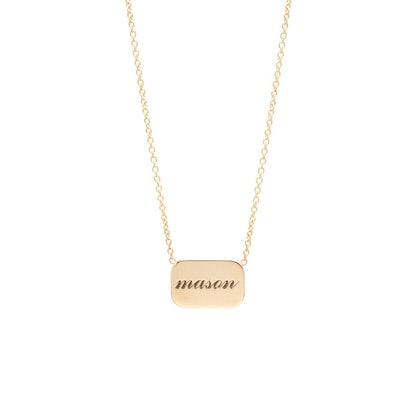 14K Personalized Rounded Rectangle Necklace