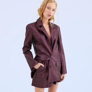 ASOS Design Leather Look Suit in Purple