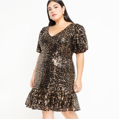Puff Sleeve Sequin Dress With Flounce