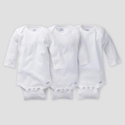 Gerber Baby Organic Cotton 3pk Long Sleeve Onesies Bodysuit - White