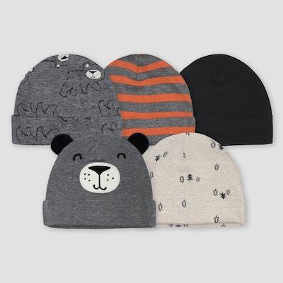 Gerber Baby Boys' 5pk Bear Caps - Gray/Light Brown 0-6M