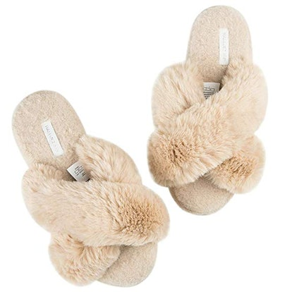 Women's Cross Band Soft Plush Fleece House/Outdoor Slippers