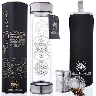 Sacred Lotus Love Glass Tea Infuser Bottle with Strainer