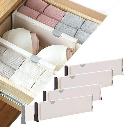 DIOMMELL Adjustable Dresser Drawer Organizers (Set of 4)