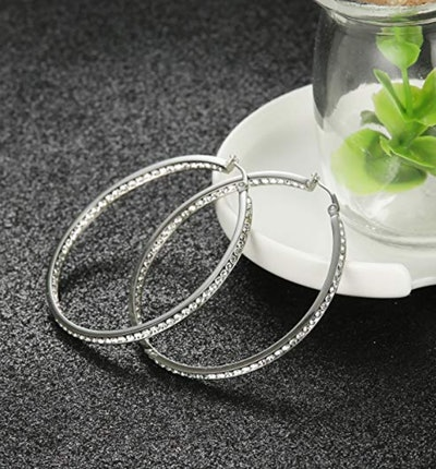 ORAZIO Stainless Steel Hoop Earrings