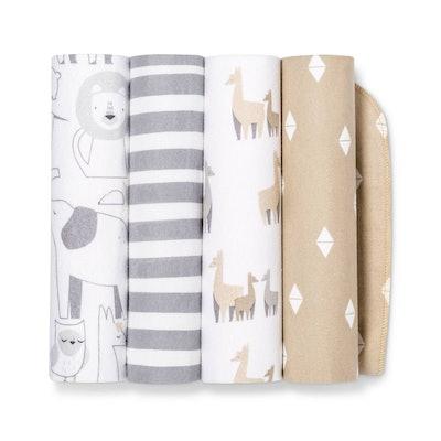 Flannel Baby Blankets Animals 4pk - Cloud Island™ Tan/Gray