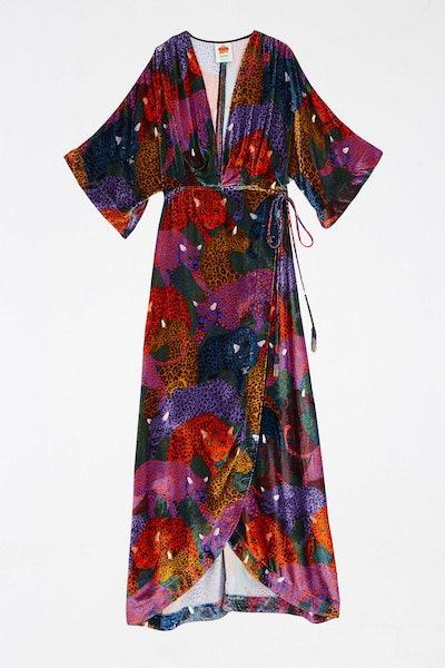 Rainbow Jaguar Velvet Dress