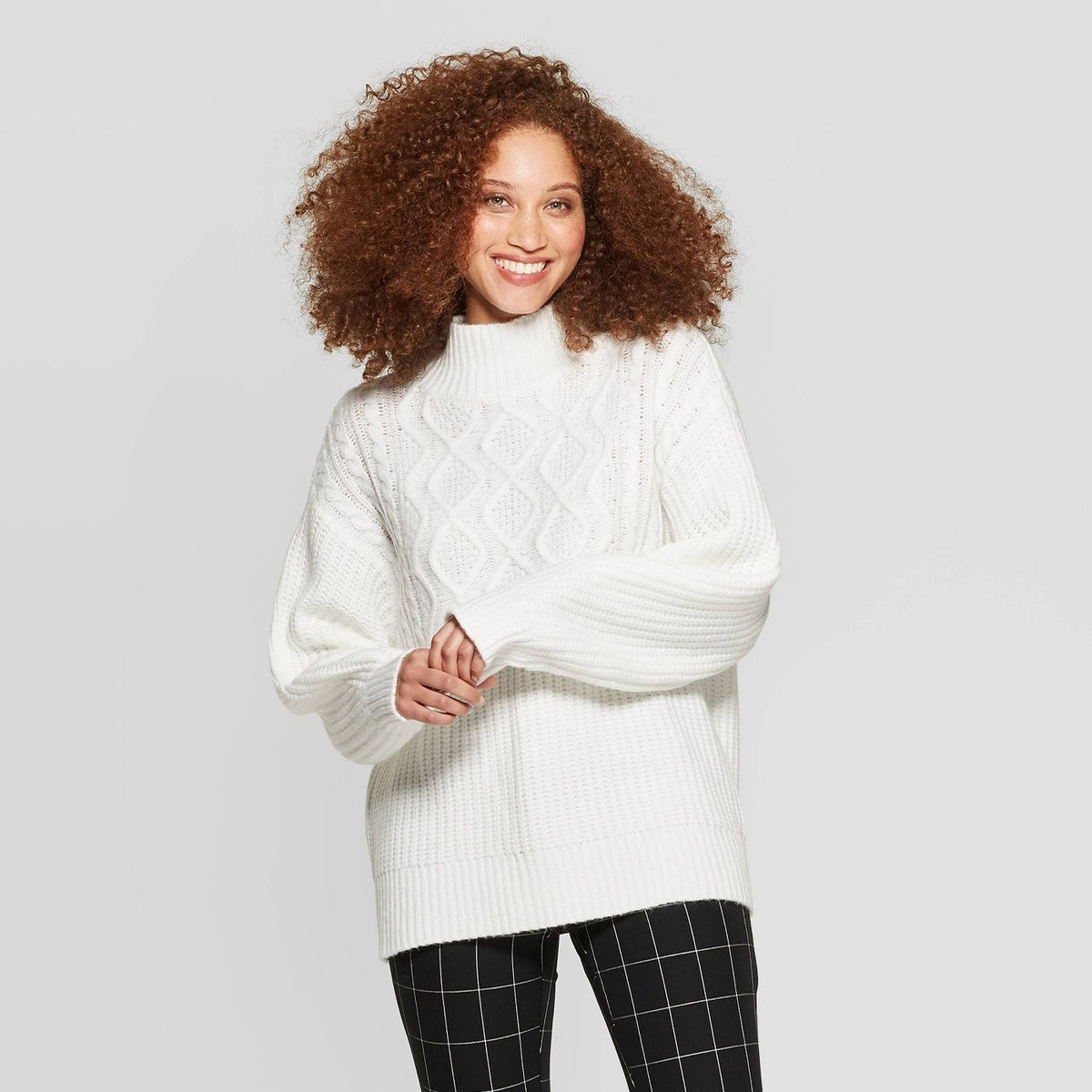 A New Day Long Sleeve Mock Turtleneck Pullover Sweater