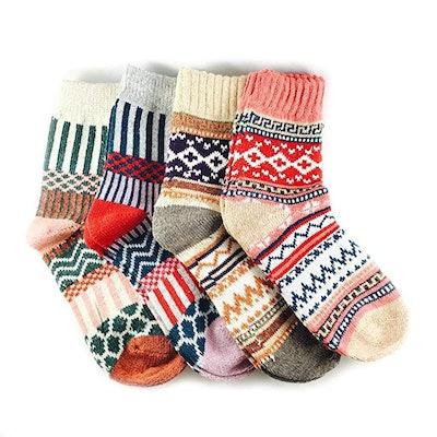 JOYCA & Co. Womens Multicolor Warm Wool Socks (4 Pairs)
