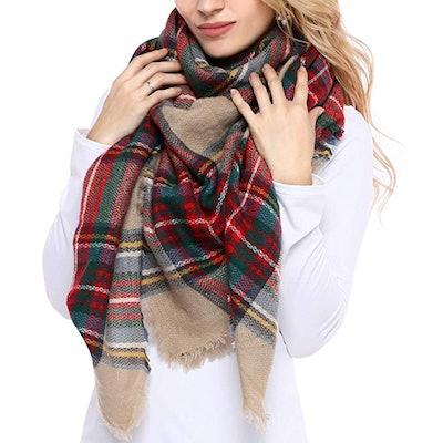 Bess Bridal Women's Plaid Blanket Winter Scarf