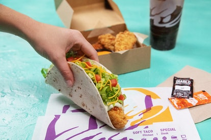 Taco Bell's new Crispy Tortilla Chicken strips can also be ordered in a soft shell taco.