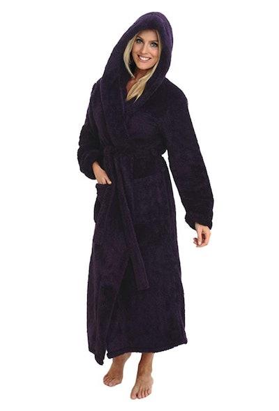 Alexander Del Rossa Women's Fleece Robe with Hood