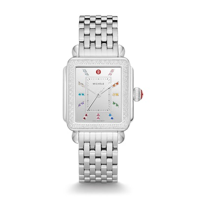 Deco Carousel Dial Stainless Steel Diamond Watch