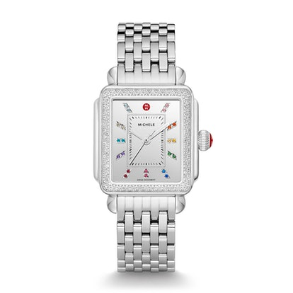 Deco Carousel Dial Stainless Steel Diamond Watch