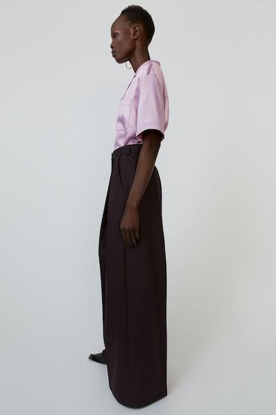 Wide-Leg Trousers Aubergine Purple