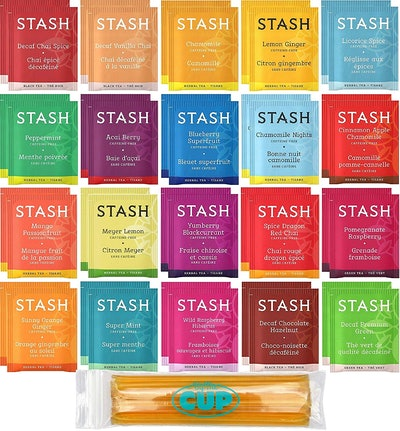 Stash Herbal & Decaf Tea Sampler with By the Cup Honey Sticks