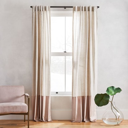 Belgian Flax Linen + Luster Velvet Curtain - Natural/Dusty Blush