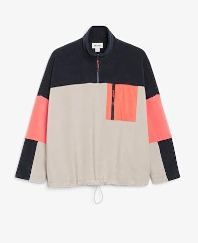 Colour block fleece sweater
