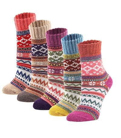 YZKKE Women's Thick Knit Crew Socks (5-Pack)
