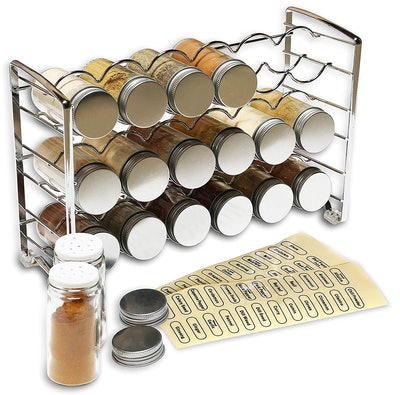 DecoBros Spice Rack Stand with Bottles and Labels
